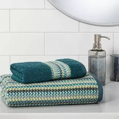 Geometric Towel Green - Threshold™ : Target