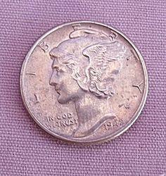 1942 MERCURY DIME AU DETAILS Half Dollar, Mercury, Coins, Money, Rooms, Silver