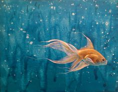 Original gold fish acylic painting Just Keep by DreamInPinkStudio