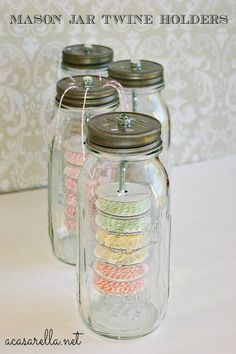 Mason Jar Twine Holder ~ organize your craft room or kitchen with these!