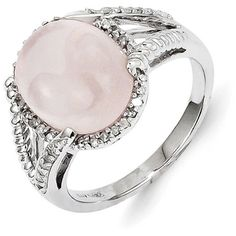 Sterling Silver Rose Quartz and Diamond Ring ($96) ❤ liked on Polyvore featuring jewelry, rings, sterling silver, rose quartz ring, sterling silver rings, diamond jewelry, sterling silver diamond rings and sterling silver jewelry