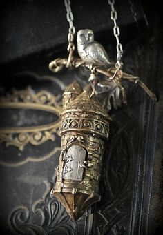 Bronze and sterling fairy castle pendant