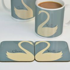 Personalised His 'n' hers Swan Heart Coasters by Meenymineymo. A very cute love token for your desk or at home.