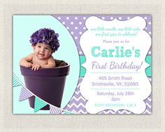 1st Birthday Invitation Purple and Aqua  by PixiePerfectParties