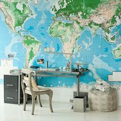 Unsure how to decorate a feature wall? Create an eye-catching mural with a giant map of the world - inspiration at its best