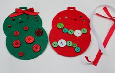 Christmas Ornament Craft Kit for Kids - Felt Ornaments Red/Green - Makes 4 on Etsy, $5.00