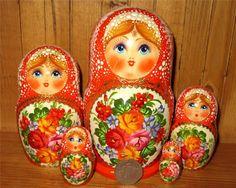 zhostovo russian nesting dolls   Russian nesting doll 5 ORANGE Matrioschka Unique Zhostovo Flowers ...