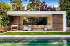 pool house moderne en bois et Crépi   Bogarden