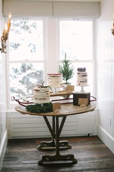A gorgeous, rustic, winter inspired cake table. A cute idea for an engagement party - Indian wedding - engagement party inspiration - party ideas - winter decorations - engagement party decor Winter Engagement Party, Engagement Party Decorations, New Years Decorations, Indian Wedding Decorations, Winter Decorations, Wedding Engagement, Wedding Reception Food, Wedding Blog, Wedding Ideas