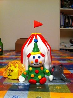 Circus Tent Chocolate cake covered with fondant, figures are cake balls covered with fondant Cake Cover, Fondant, Tent, Cakes, Christmas Ornaments, Holiday Decor, Food, Store, Cake Makers