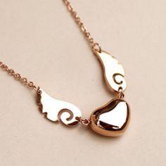 Corazón elegante de color sólido y colgante, collar de alas para las mujeres para Vender - La Tienda En Online IGOGO.ES