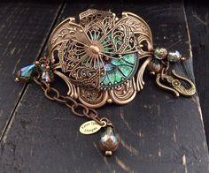 Vintage Butterfly Bracelet Czech Glass Button by KarenTylerDesigns, $58.99