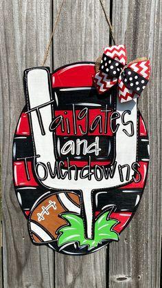 Alabama Door Hanger, Football Door Hangers, Teacher Door Hangers, Fall Wooden Door Hangers, Door Wreath, Wreath Hanger, Birthday Door, Decoupage Jars, Football Fever