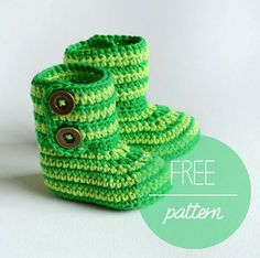 Hello! It's time for another free crochet pattern for baby booties. This time you will need two shades of green DK weight 100% cotton yarn, 3.5 mm crochet hook, stitch markers, yarn needle an…