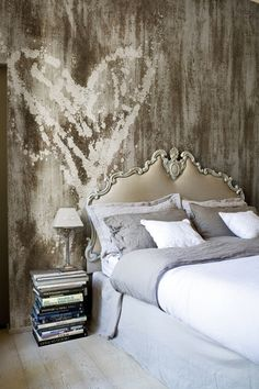 Bedroom: Project Redecorate!  Love the contrast between the romantic bed and the wall.