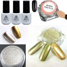 Aliexpress.com : Buy 6pcs/set Shinning Mirror Nail Glitter Powder Black UV Gel Nail Art Chrome Pigment Kit with Brush from Reliable pigment cream suppliers on BeautyLadyNailart