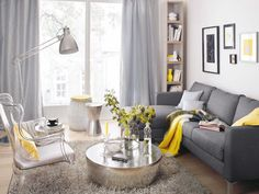yellow and gray room -silvery accents