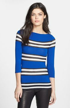 Bailey 44 'Time Out' Perforated Stripe Jersey Top available at #Nordstrom