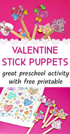 Free printable valentine coloring page with cute heart animals to turn into stick puppets. Easy preschool activity for valentine's day. Valentines Day Book, Valentines Day Activities, Valentines For Kids, Toddler Art Projects, Valentine's Day Crafts For Kids, Craft Activities For Kids, Printable Valentines Coloring Pages, Mobile Craft, Puppet Crafts
