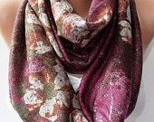 Hot Pink Floral Infinity Scarf Stretchy Loop Scarf Women's Fashion Accessories Gift Ideas For Her For Him Fall Winter Scarf Women Scarves