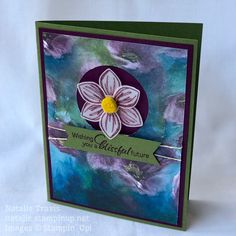 """Wishing You A Blissful Future"" card featuring the Perennial Essence Suite by Stampin' Up! Flower Cards, Paper Flowers, Stampin Up Catalog, Painted Paper, Card Sketches, Crafty Projects, Paper Cards, Stamping Up, Greeting Cards Handmade"