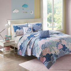 Blue Purple Pink Playful Clouds Quilted Coverlet AND Decorative Pillows (Cloud 9-Blue-Cov)