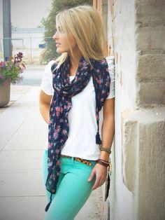 Bright pants, t-shirt, flowery scarf.