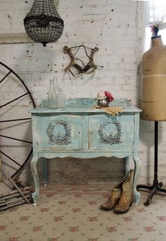 Painted Cottage Chic Shabby Aqua Server / by paintedcottages, $265.00