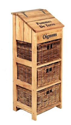 French Farmhouse Wooden Vegetable Store with 3 Large Wicker Drawers and Potato Store x x Vegetable Drawer, Vegetable Storage, Cool Kitchen Gadgets, Home Gadgets, Ideas Armario, Potato Bin, Potato Storage, Small Bars For Home, Barn Wood Projects