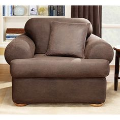 Sure Fit Stretch Leather T Cushion Two Piece Chair Slipcover   Chair  Slipcovers At Hayneedle
