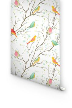 """DESCRIPTION Wallflora presents you a fabulous collection of """"Birds"""" wallpaper in order to enhance the beauty of your rooms. Bring the bird & colors into your home! Just peel off the back portion of th"""