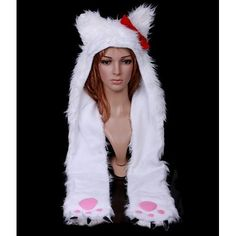 Hello Kitty (Red Bow) with Paw Scarf Lovely Cartoon Animal Cat Plush Soft Warm Cap Hat Earmuff Scarf White Fancy Dress Hats, Funny Hats, Animal Hats, Swimsuit Cover Ups, Earmuffs, Indie Brands, Costume Accessories, Hats For Men, Caps Hats