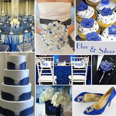 Blue and Silver Wedding Colors - Blue and silver is a great combination, for weddings, especially for winter, although it works great for spring and summer, too. It is an elegant, somewhat formal combination.