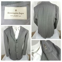 Ermenegildo Zegna Soft 3 Button Wool Blazer Jacket Sport Coat Size 48L Gray #ErmenegildoZegna #ThreeButton