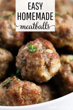 These are the best oven baked meatballs! So easy to make, juicy and flavorful. T… These are the best oven baked meatballs! So easy to make, juicy and flavorful. They're perfect for appetizers, meatballs subs or on top of spaghetti. Meat Recipes, Dinner Recipes, Cooking Recipes, Chicken Recipes, Bison Recipes, Recipies, Cooking Videos, Shrimp Recipes, Pizza Recipes