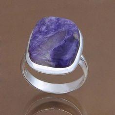 925 STERLING SILVER RING CHARORITE RING JEWELRY 7.28g DJR9770 SZ-9 #Handmade #Ring