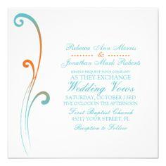 Orange and Teal Faded Flourish Wedding Invitation