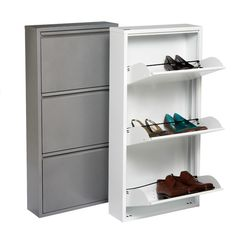 Drop-front drawers and a slim profile underscore the unique Italian design of our 3-Drawer Shoe Cabinet. The three drawers can each hold three pairs of women's or two pairs of men's shoes - a bar along the front keeps shoes in place when the drawers are opened.