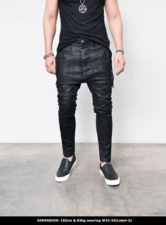 Mens Coated Drop Crotch Slim Baggy-Jeans 286 by Guylook.com