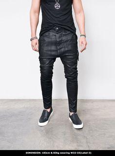 Mens Coated Drop Crotch Slim Baggy-Jeans 286 by Guylook.com