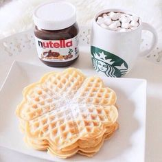 The best breakfast; Starbucks coffee and nutella❤️