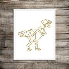 Geometric Dinosaur Art Print Gold T Rex by FaithDesignPrints