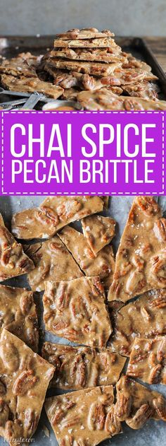 This Chai Spice Pecan Brittle is a unique twist on the traditional brittle you see around the holidays - this version features buttery pecans and a bold chai spice blend.