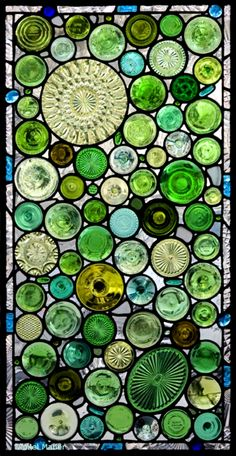 upcycled bottle bottoms stained glass window by Daniel Maher of DMStained Glass