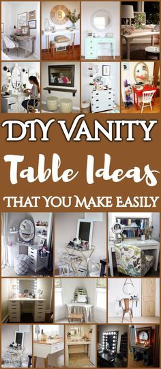 25 DIY Vanity Table Ideas That You Make Easily [post_tags Cheap Vanity Table, Girls Vanity Table, Diy Makeup Vanity Table, Vanity Makeup Rooms, Makeup Room Decor, Vanity Decor, Vanity Tables, Vanity Ideas, Master Bedroom Makeover
