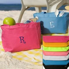 Add some color to your Bridesmaids Gifts!!  Breezy Bay Personalized Cooler Totes (7 Colors) (JDS Engravables GC674) | Buy at Wedding Favors Unlimited (http://www.weddingfavorsunlimited.com/personalized_breezy_bay_cooler_tote.html).