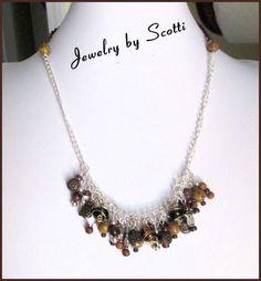 Brown Necklace Owl Charms Wood Stone Copper Beads  | JewelryByScotti - Jewelry on ArtFire