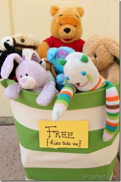 Garage / Yard Sale ideas: Give away a gently used stuffed animal to customers' kids.