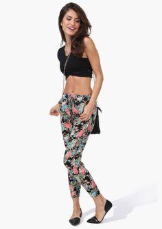 printed pants and black crop top