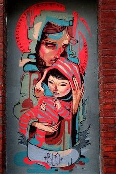 Mother and child #portrait #graffiti #urban #streetart